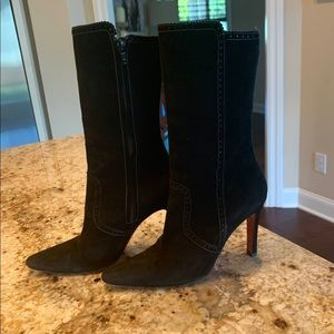 Christian Louboutin Black Suede Boots 7.5